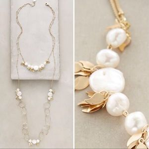 Anthropologie Freshwater Pearl Gold Layer Necklace